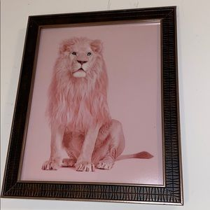 Pink Lion wall  framed canvas print